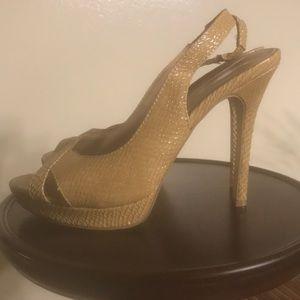 Jesica Simpson High Heels Shoes, Beige Snake Sling